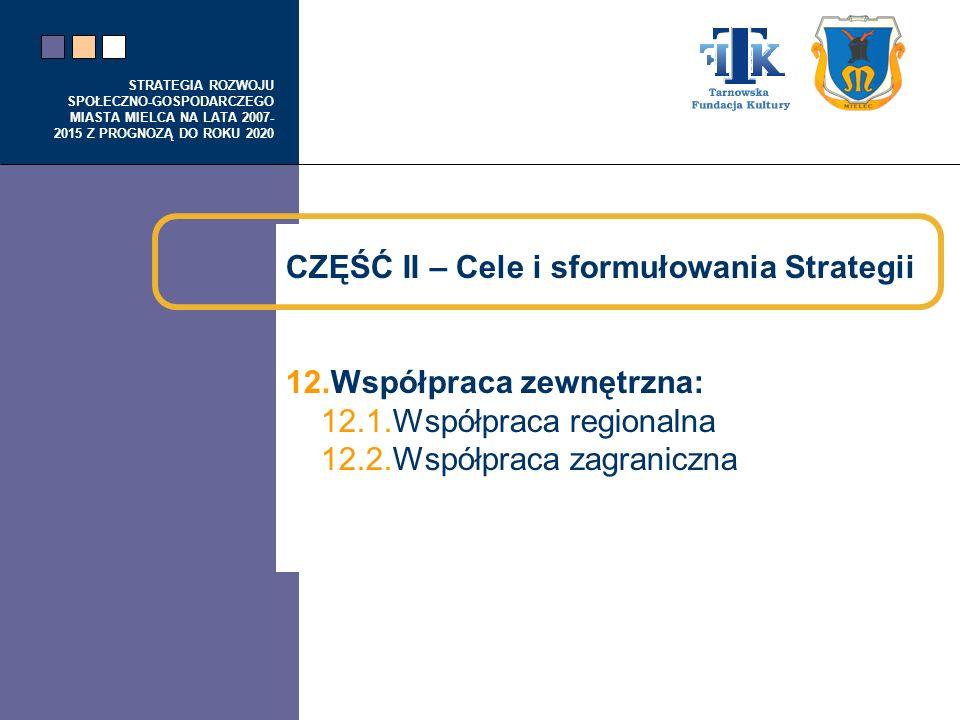 STRATEGIA ROZWOJU SPOŁECZNO-GOSPODARCZEGO MIASTA MIELCA NA LATA 2007- 2015 Z PROGNOZĄ DO ROKU 2020 CZĘŚĆ II – Cele i sformułowania Strategii 12.Współp
