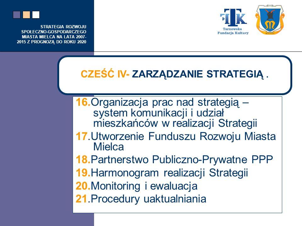 STRATEGIA ROZWOJU SPOŁECZNO-GOSPODARCZEGO MIASTA MIELCA NA LATA 2007- 2015 Z PROGNOZĄ DO ROKU 2020 16.Organizacja prac nad strategią – system komunika