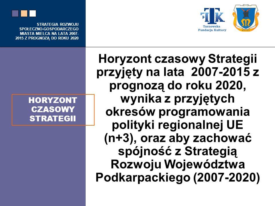 STRATEGIA ROZWOJU SPOŁECZNO-GOSPODARCZEGO MIASTA MIELCA NA LATA 2007- 2015 Z PROGNOZĄ DO ROKU 2020 Horyzont czasowy Strategii przyjęty na lata 2007-20