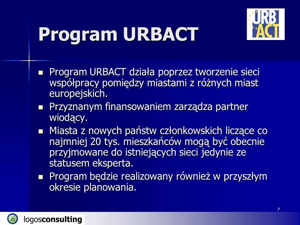 7 Program URBACT Program URBACT działa poprzez tworzenie sieci współpracy pomiędzy miastami z różnych miast europejskich.