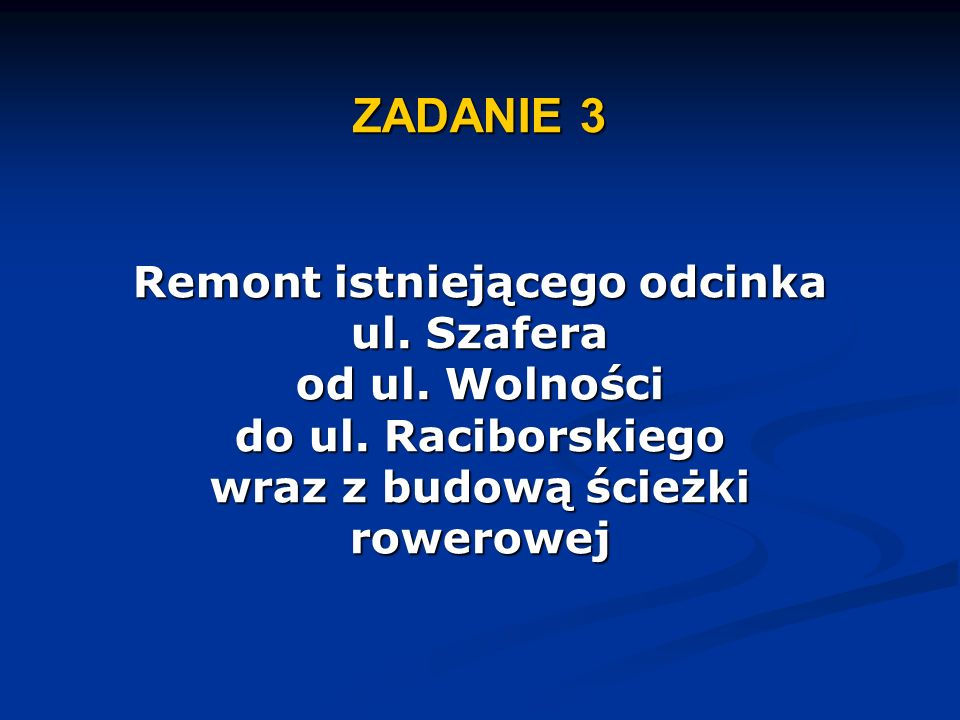 ZADANIE 3 Remont istniejącego odcinka ul.Szafera od ul.