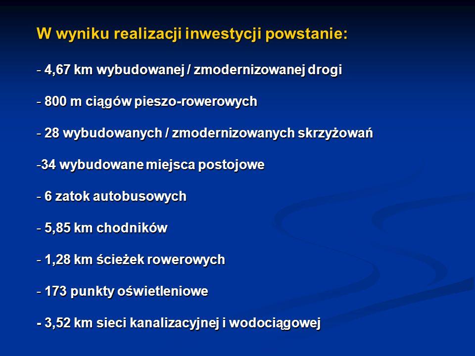 W wyniku realizacji inwestycji powstanie: - 4,67 km wybudowanej / zmodernizowanej drogi - 800 m ciągów pieszo-rowerowych - 28 wybudowanych / zmodernizowanych skrzyżowań -34 wybudowane miejsca postojowe - 6 zatok autobusowych - 5,85 km chodników - 1,28 km ścieżek rowerowych - 173 punkty oświetleniowe - 3,52 km sieci kanalizacyjnej i wodociągowej