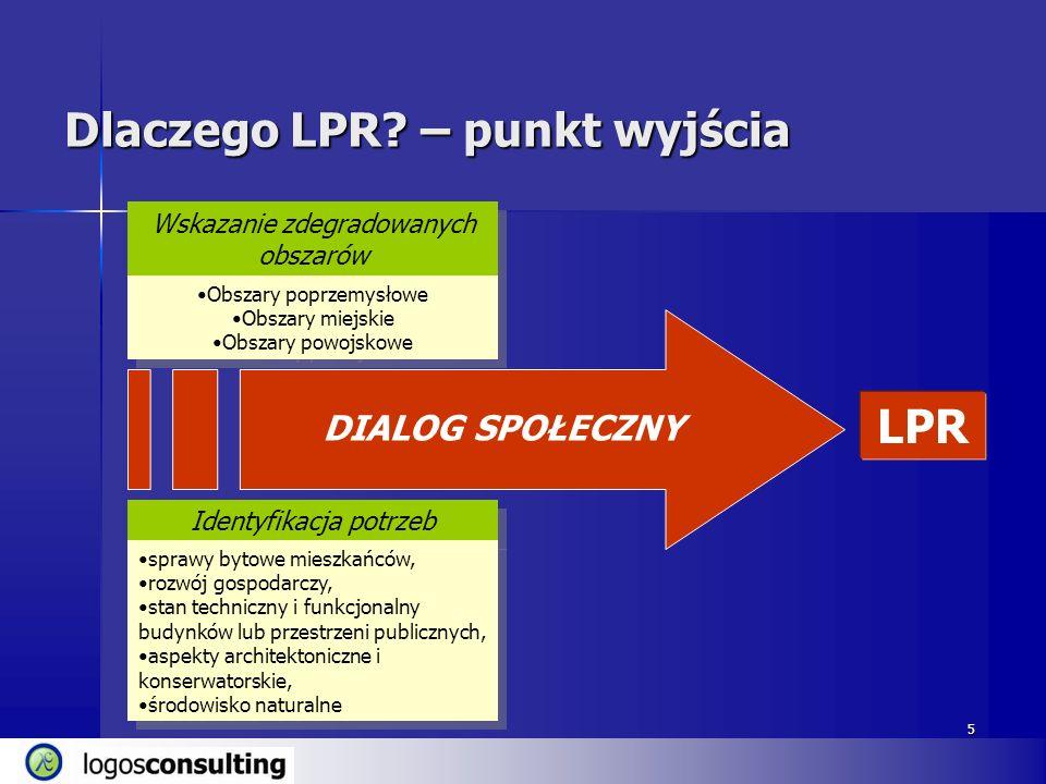 5 Dlaczego LPR? – punkt wyjścia LPR Identyfikacja potrzeb sprawy bytowe mieszkańców, rozwój gospodarczy, stan techniczny i funkcjonalny budynków lub p