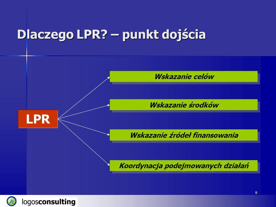 6 Dlaczego LPR? – punkt dojścia LPR Wskazanie celów Wskazanie źródeł finansowania Wskazanie środków Koordynacja podejmowanych działań