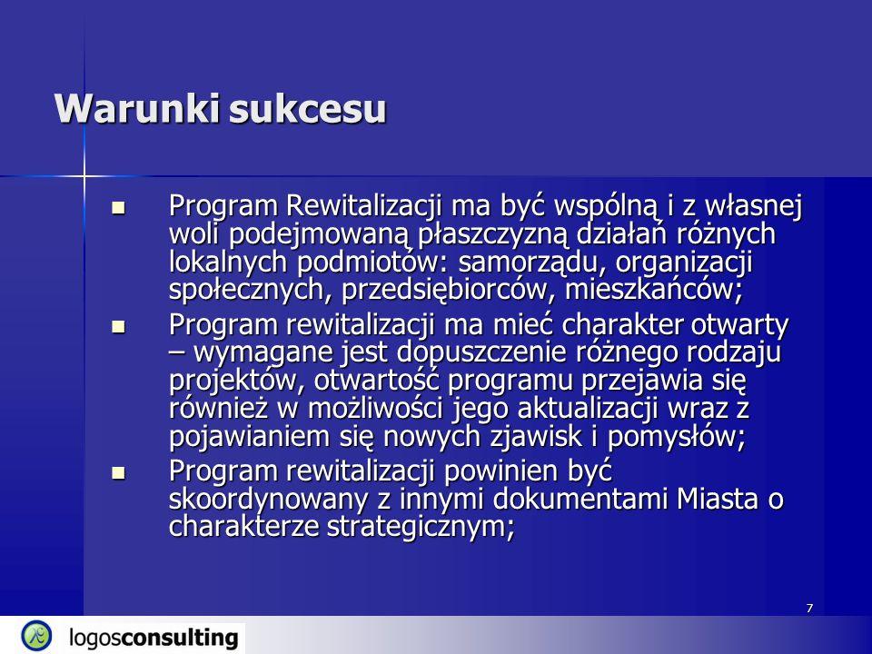 7 Warunki sukcesu Program Rewitalizacji ma być wspólną i z własnej woli podejmowaną płaszczyzną działań różnych lokalnych podmiotów: samorządu, organi