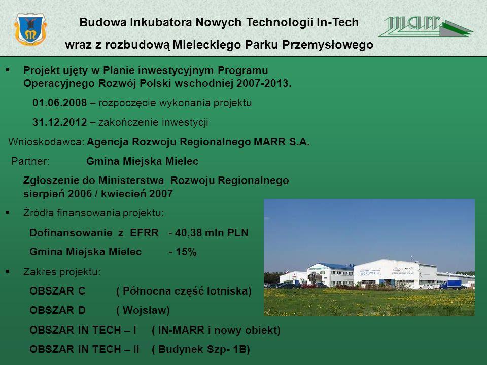 Budowa Inkubatora Nowych Technologii In-Tech wraz z rozbudową Mieleckiego Parku Przemysłowego Projekt ujęty w Planie inwestycyjnym Programu Operacyjnego Rozwój Polski wschodniej 2007-2013.