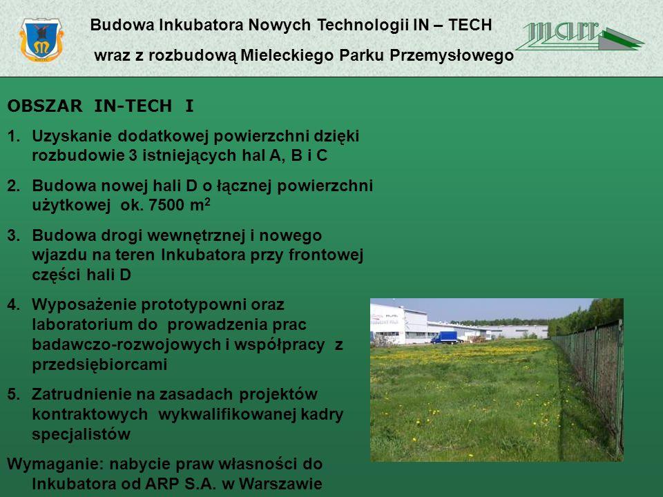 Budowa Inkubatora Nowych Technologii IN – TECH wraz z rozbudową Mieleckiego Parku Przemysłowego OBSZAR IN-TECH I 1.Uzyskanie dodatkowej powierzchni dzięki rozbudowie 3 istniejących hal A, B i C 2.Budowa nowej hali D o łącznej powierzchni użytkowej ok.