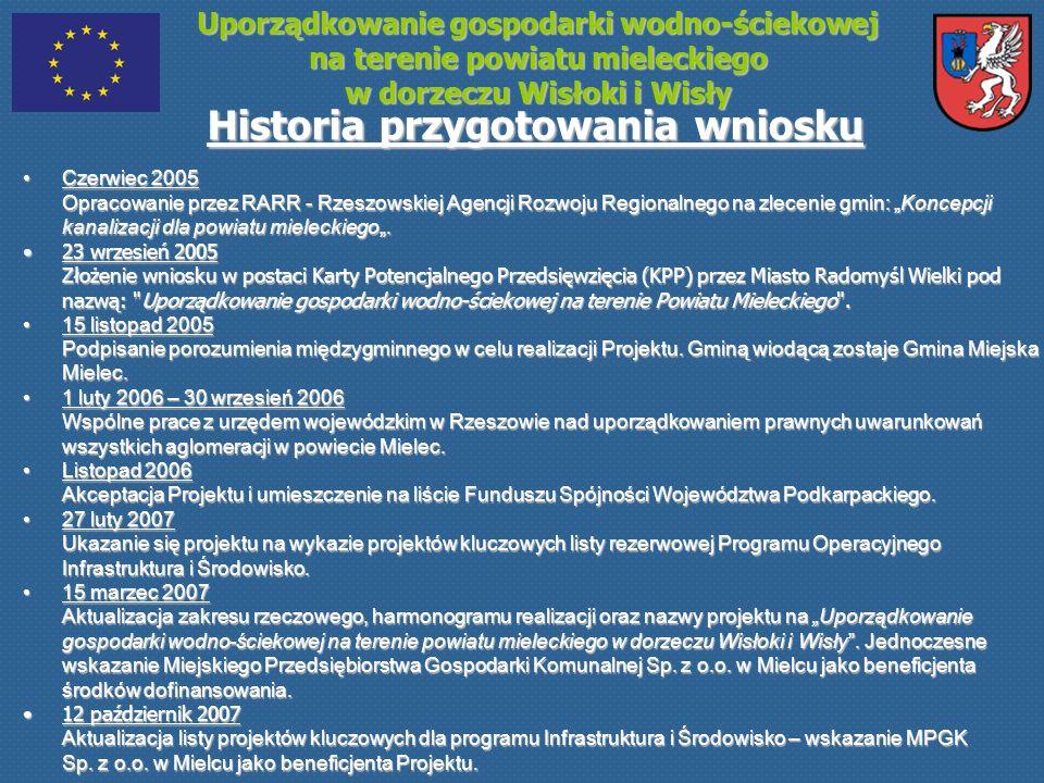 Uporządkowanie gospodarki wodno-ściekowej na terenie powiatu mieleckiego w dorzeczu Wisłoki i Wisły Historia przygotowania wniosku Czerwiec 2005 Oprac