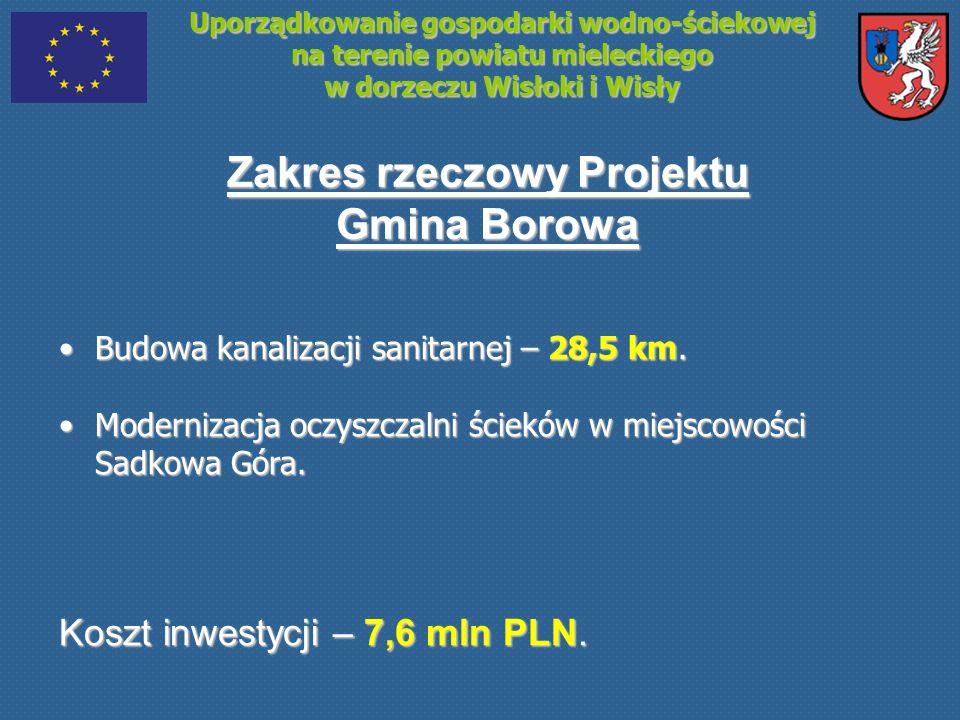 Uporządkowanie gospodarki wodno-ściekowej na terenie powiatu mieleckiego w dorzeczu Wisłoki i Wisły Zakres rzeczowy Projektu Gmina Borowa Budowa kanal