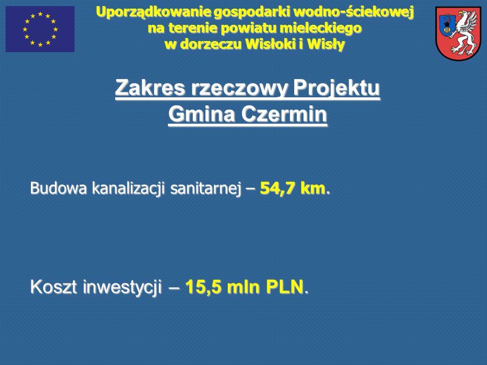 Uporządkowanie gospodarki wodno-ściekowej na terenie powiatu mieleckiego w dorzeczu Wisłoki i Wisły Zakres rzeczowy Projektu Gmina Czermin Budowa kana