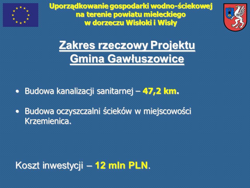 Uporządkowanie gospodarki wodno-ściekowej na terenie powiatu mieleckiego w dorzeczu Wisłoki i Wisły Zakres rzeczowy Projektu Gmina Gawłuszowice Budowa