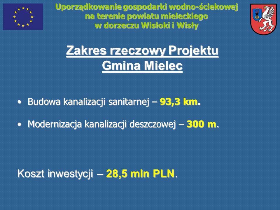 Uporządkowanie gospodarki wodno-ściekowej na terenie powiatu mieleckiego w dorzeczu Wisłoki i Wisły Zakres rzeczowy Projektu Gmina Mielec Budowa kanal