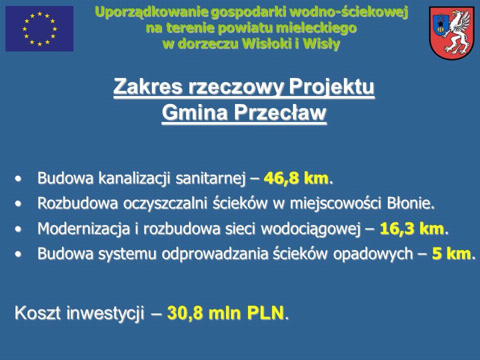 Uporządkowanie gospodarki wodno-ściekowej na terenie powiatu mieleckiego w dorzeczu Wisłoki i Wisły Zakres rzeczowy Projektu Gmina Przecław Budowa kan