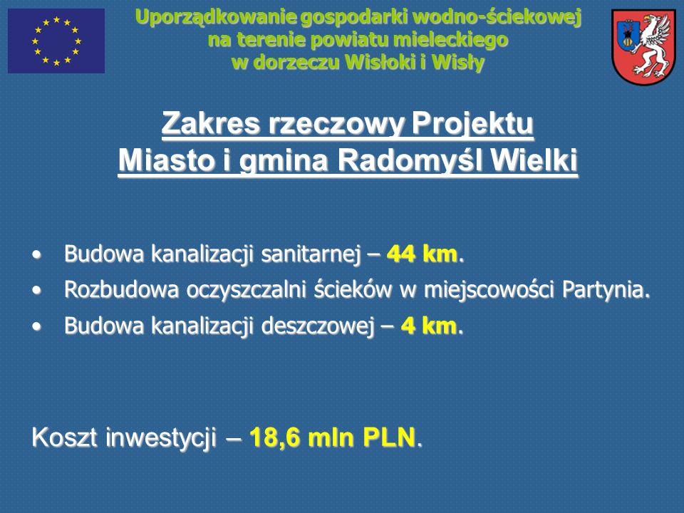 Uporządkowanie gospodarki wodno-ściekowej na terenie powiatu mieleckiego w dorzeczu Wisłoki i Wisły Zakres rzeczowy Projektu Miasto i gmina Radomyśl W