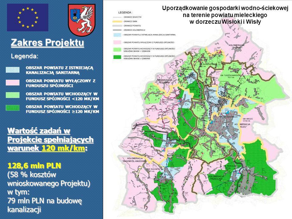 Uporządkowanie gospodarki wodno-ściekowej na terenie powiatu mieleckiego w dorzeczu Wisłoki i Wisły Zakres Projektu Legenda: Wartość zadań w Projekcie