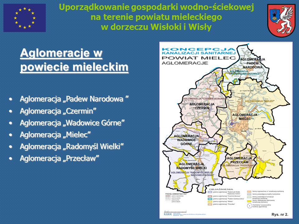 Uporządkowanie gospodarki wodno-ściekowej na terenie powiatu mieleckiego w dorzeczu Wisłoki i Wisły Zakres rzeczowy Projektu Gmina Czermin Budowa kanalizacji sanitarnej – 54,7 km.