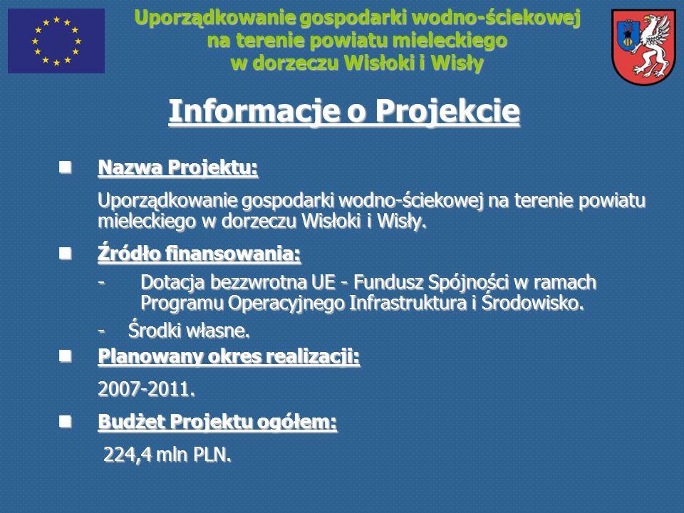 Uporządkowanie gospodarki wodno-ściekowej na terenie powiatu mieleckiego w dorzeczu Wisłoki i Wisły Informacje o Projekcie Nazwa Projektu: Nazwa Proje