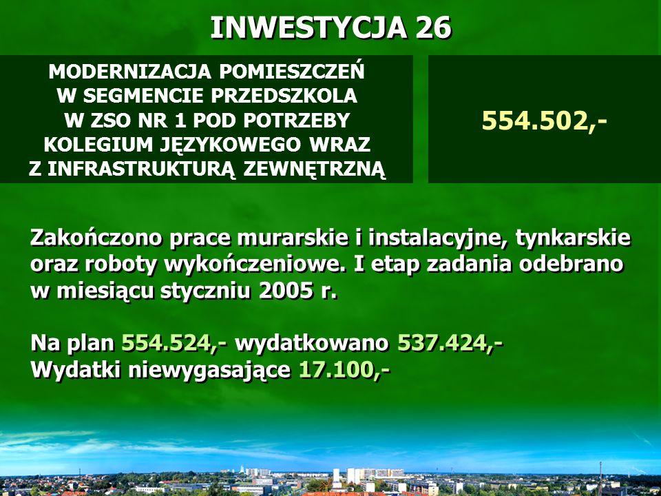 INWESTYCJA 25 Środki otrzymane z budżetu państwa pod koniec roku budżetowego, w całości zostały uchwalone jako środki niewygasajace.