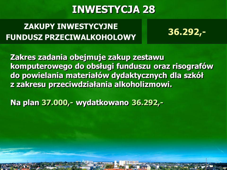 INWESTYCJA 27 ZAKUP OPROGRAMOWANIA MZPiŻ 12.000,- Zadanie zrealizowano.