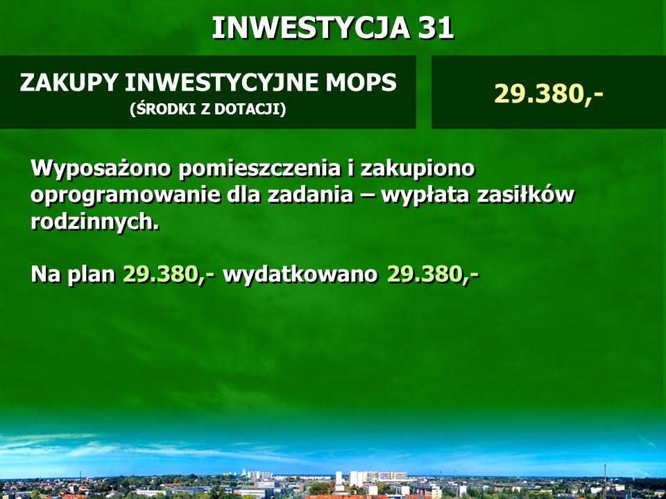 INWESTYCJA 30 MONITORING ZEWNĘTRZNY FUNDUSZ PRZECIWALKOHOLOWY 40.000,- Wykonano monitoring zewnętrzny ZSO Nr 1 oraz SP 3.