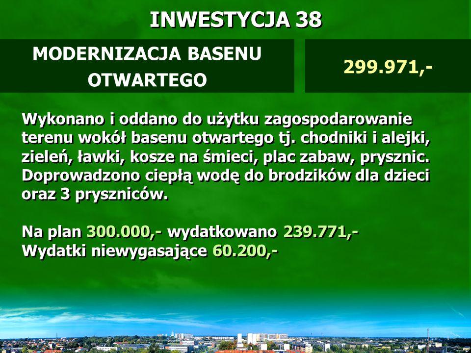 INWESTYCJA 37 MULTIMEDIALNY SYSTEM INFORMACJI REGIONALNEJ MIELEC INFO przygotowanie inwestycji 29.280,- W opracowaniu jest studium wykonalności dla projektu.