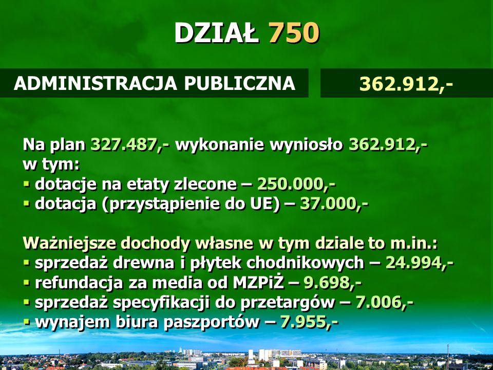 DZIAŁ 700 Na plan 3.379.693,- wykonanie wyniosło 4.274.553,- Wyższe wykonanie to m.in.