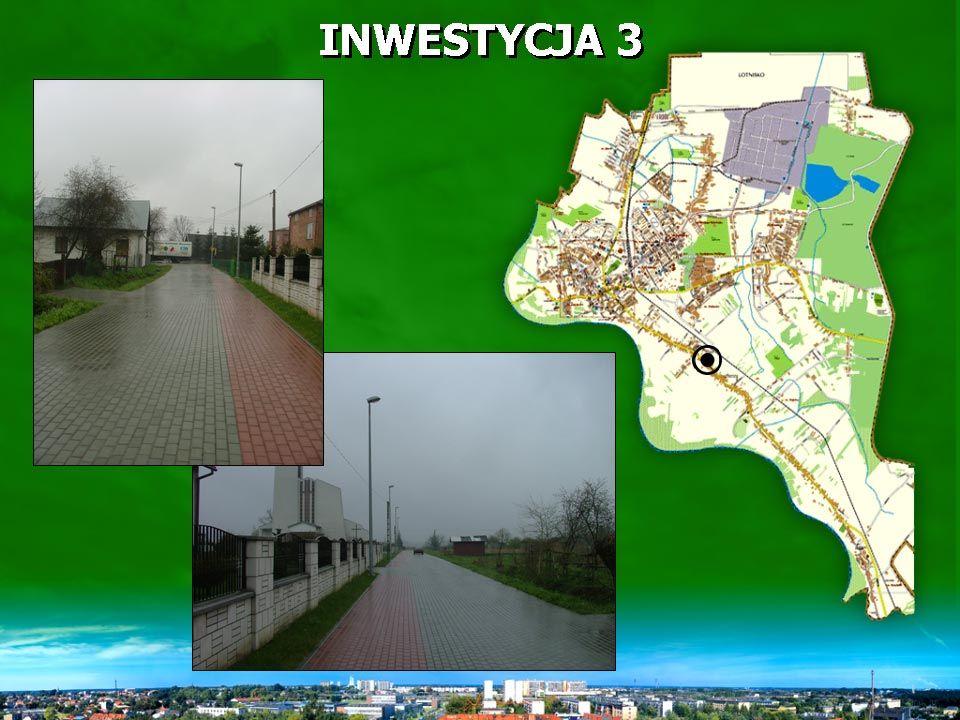 INWESTYCJA 3 wykonano 237 m ulicy, nawierzchnia z kostki brukowej (829,50 m 2 ) oraz chodnik o powierzchni 355,5 m 2.