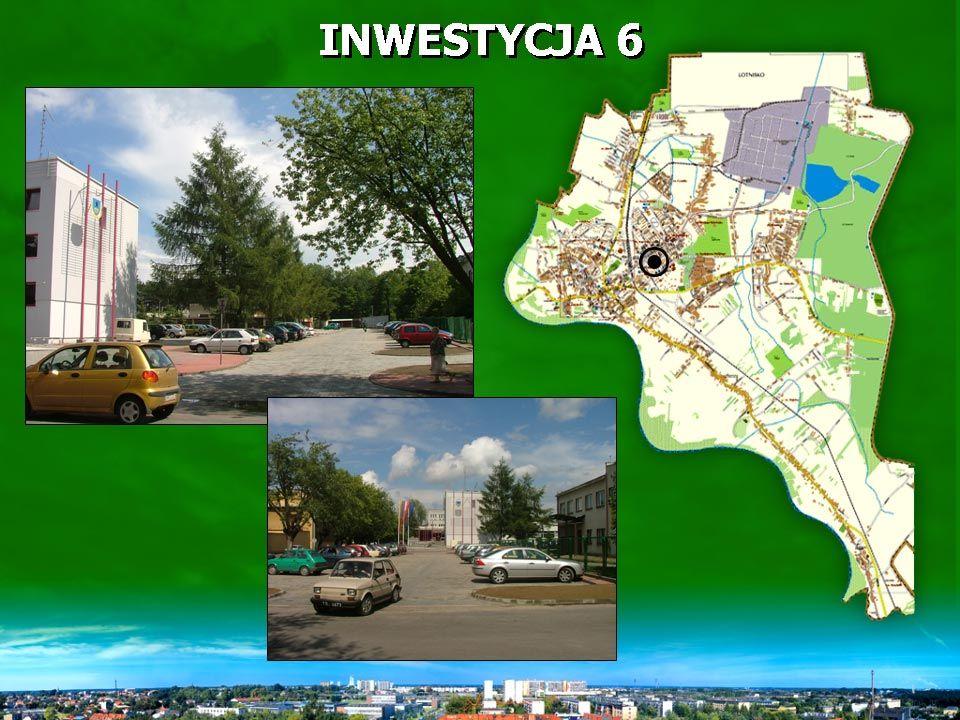 INWESTYCJA 6 Wykonano parking z kostki brukowej na 107 miejsc postojowych oraz trawniki, nasadzenia drzew i krzewów.