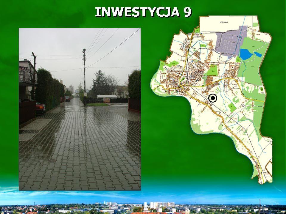 INWESTYCJA 9 zakres rzeczowy - 213,9 mb ulicy z kostki brukowej betonowej (powierzchnia 955 m 2 ) oraz pas z płyt ażurowych (Jomb) o powierzchni 275 m 2.