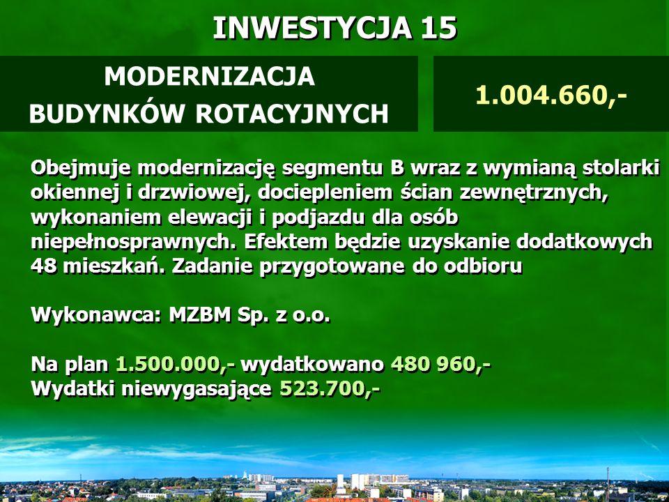 INWESTYCJA 14 Dokonano wykupów gruntów pod ciągi komunikacyjne (m.in.