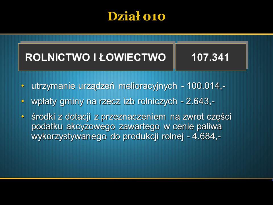 Dział 010 ROLNICTWO I ŁOWIECTWO ROLNICTWO I ŁOWIECTWO 107.341 utrzymanie urządzeń melioracyjnych - 100.014,-utrzymanie urządzeń melioracyjnych - 100.0