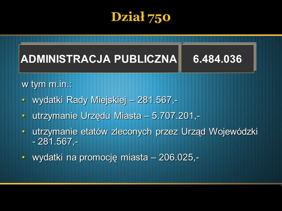 Dział 750 ADMINISTRACJA PUBLICZNA ADMINISTRACJA PUBLICZNA 6.484.036 w tym m.in.: wydatki Rady Miejskiej – 281.567,-wydatki Rady Miejskiej – 281.567,-
