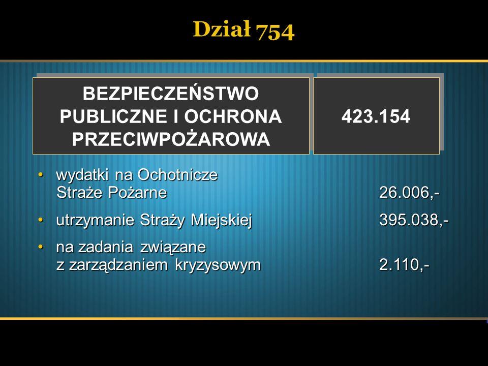 Dział 754 BEZPIECZEŃSTWO PUBLICZNE I OCHRONA PRZECIWPOŻAROWA BEZPIECZEŃSTWO PUBLICZNE I OCHRONA PRZECIWPOŻAROWA 423.154 wydatki na Ochotnicze Straże P