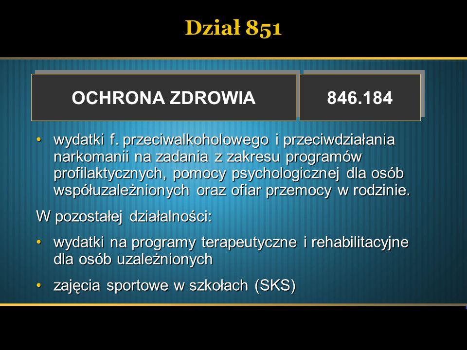 Dział 851 OCHRONA ZDROWIA OCHRONA ZDROWIA 846.184 wydatki f. przeciwalkoholowego i przeciwdziałania narkomanii na zadania z zakresu programów profilak