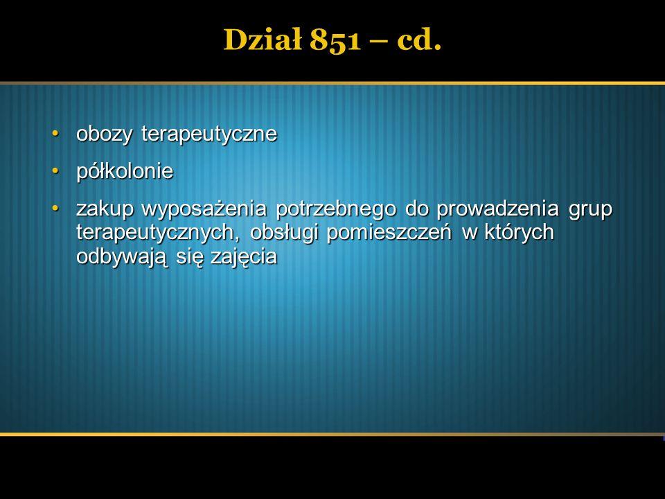 Dział 851 – cd. obozy terapeutyczneobozy terapeutyczne półkoloniepółkolonie zakup wyposażenia potrzebnego do prowadzenia grup terapeutycznych, obsługi