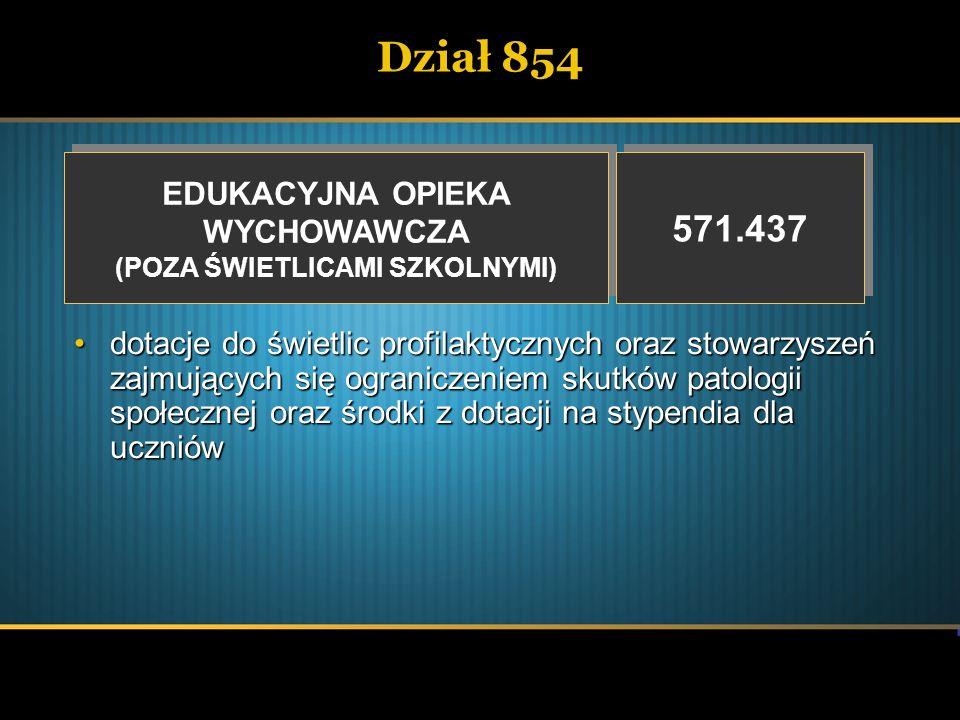 Dział 854 EDUKACYJNA OPIEKA WYCHOWAWCZA (POZA ŚWIETLICAMI SZKOLNYMI) EDUKACYJNA OPIEKA WYCHOWAWCZA (POZA ŚWIETLICAMI SZKOLNYMI) 571.437 dotacje do świ