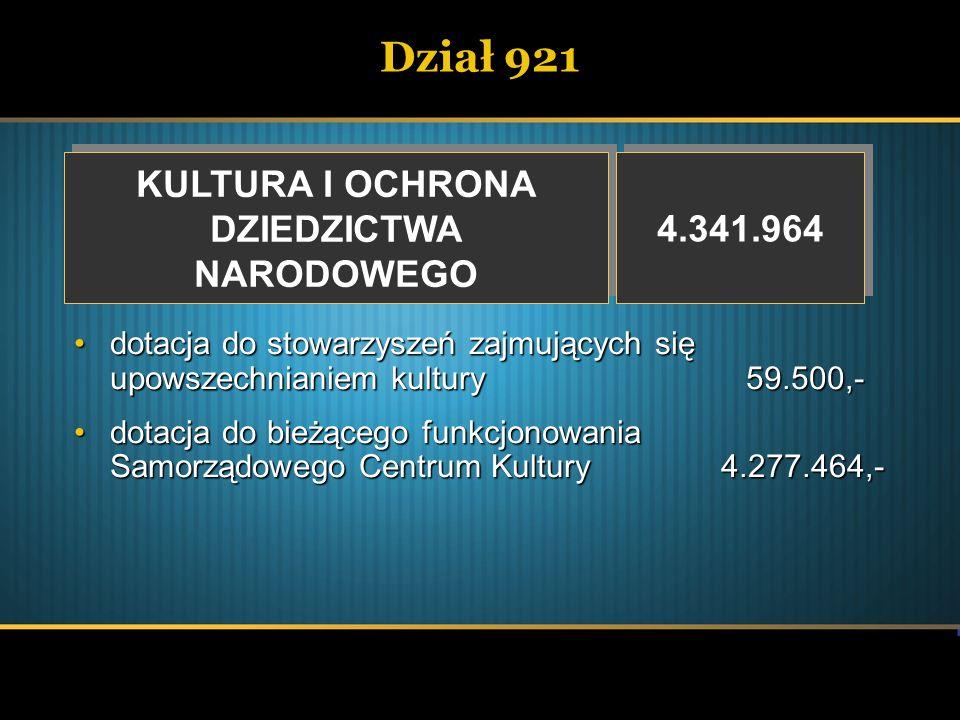 Dział 921 KULTURA I OCHRONA DZIEDZICTWA NARODOWEGO KULTURA I OCHRONA DZIEDZICTWA NARODOWEGO 4.341.964 dotacja do stowarzyszeń zajmujących się upowszec