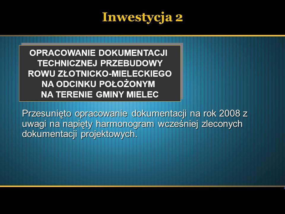 Inwestycja 2 OPRACOWANIE DOKUMENTACJI TECHNICZNEJ PRZEBUDOWY ROWU ZŁOTNICKO-MIELECKIEGO NA ODCINKU POŁOŻONYM NA TERENIE GMINY MIELEC OPRACOWANIE DOKUM