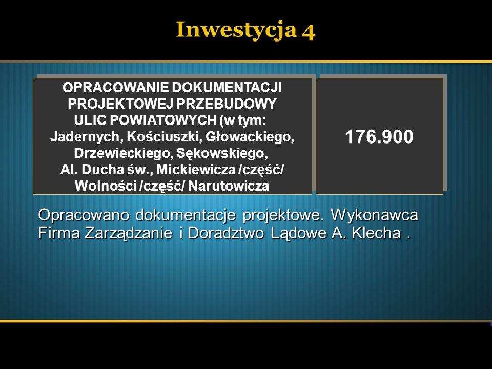 Inwestycja 4 OPRACOWANIE DOKUMENTACJI PROJEKTOWEJ PRZEBUDOWY ULIC POWIATOWYCH (w tym: Jadernych, Kościuszki, Głowackiego, Drzewieckiego, Sękowskiego,