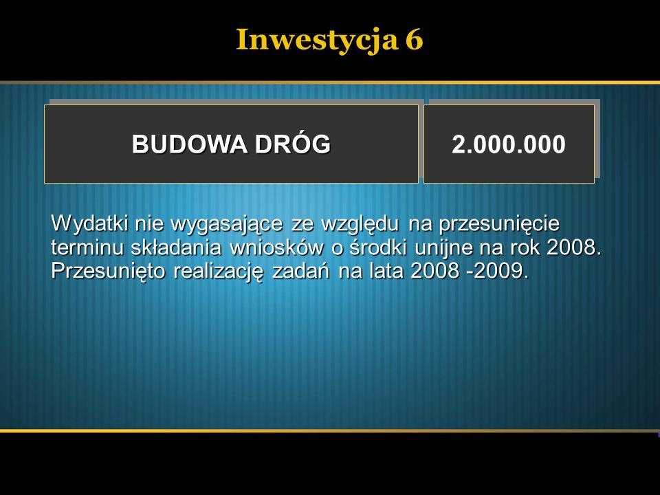 Inwestycja 6 BUDOWA DRÓG 2.000.000 Wydatki nie wygasające ze względu na przesunięcie terminu składania wniosków o środki unijne na rok 2008. Przesunię