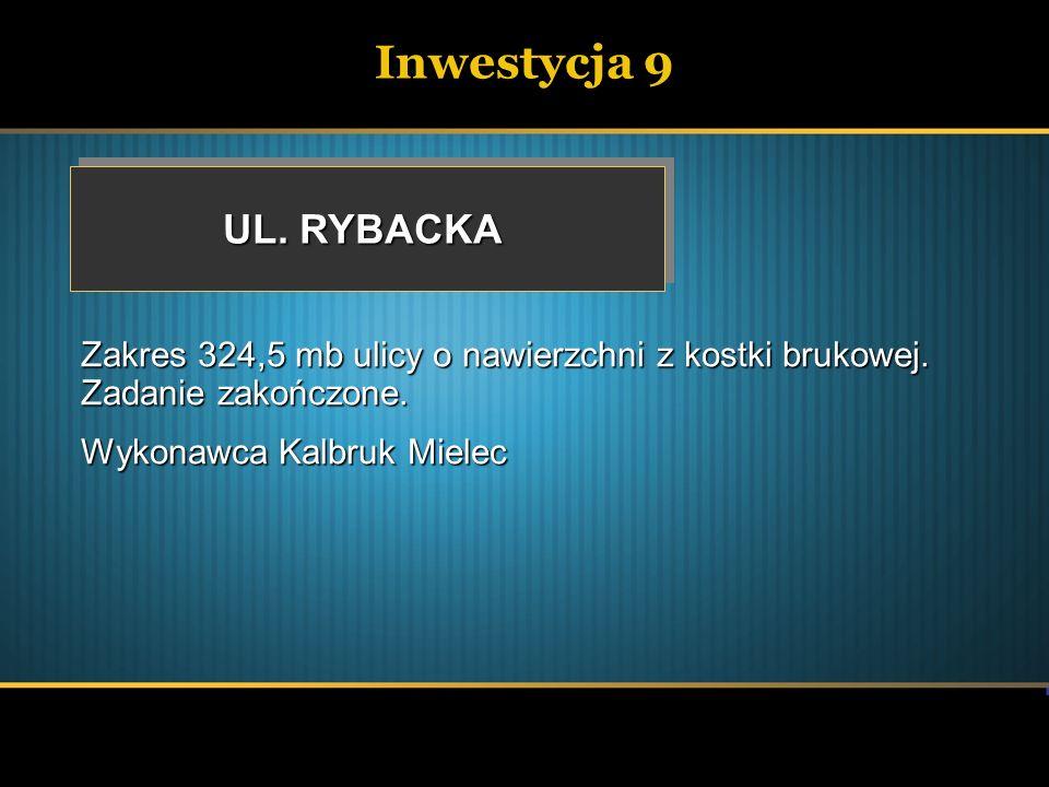 Inwestycja 9 UL. RYBACKA Zakres 324,5 mb ulicy o nawierzchni z kostki brukowej. Zadanie zakończone. Wykonawca Kalbruk Mielec