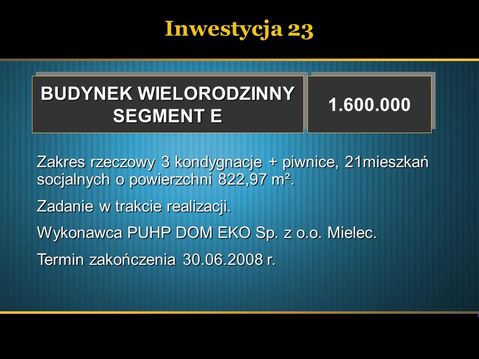 Inwestycja 23 BUDYNEK WIELORODZINNY SEGMENT E BUDYNEK WIELORODZINNY SEGMENT E 1.600.000 Zakres rzeczowy 3 kondygnacje + piwnice, 21mieszkań socjalnych