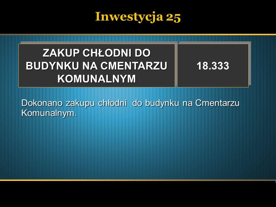 Inwestycja 25 ZAKUP CHŁODNI DO BUDYNKU NA CMENTARZU KOMUNALNYM ZAKUP CHŁODNI DO BUDYNKU NA CMENTARZU KOMUNALNYM 18.333 Dokonano zakupu chłodni do budy
