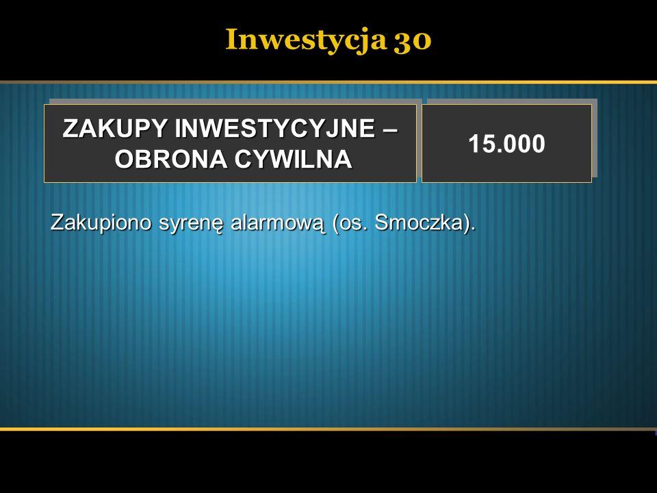 Inwestycja 30 ZAKUPY INWESTYCYJNE – OBRONA CYWILNA OBRONA CYWILNA ZAKUPY INWESTYCYJNE – OBRONA CYWILNA OBRONA CYWILNA 15.000 Zakupiono syrenę alarmową
