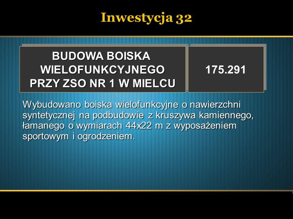 Inwestycja 32 BUDOWA BOISKA WIELOFUNKCYJNEGO PRZY ZSO NR 1 W MIELCU BUDOWA BOISKA WIELOFUNKCYJNEGO PRZY ZSO NR 1 W MIELCU 175.291 Wybudowano boiska wi