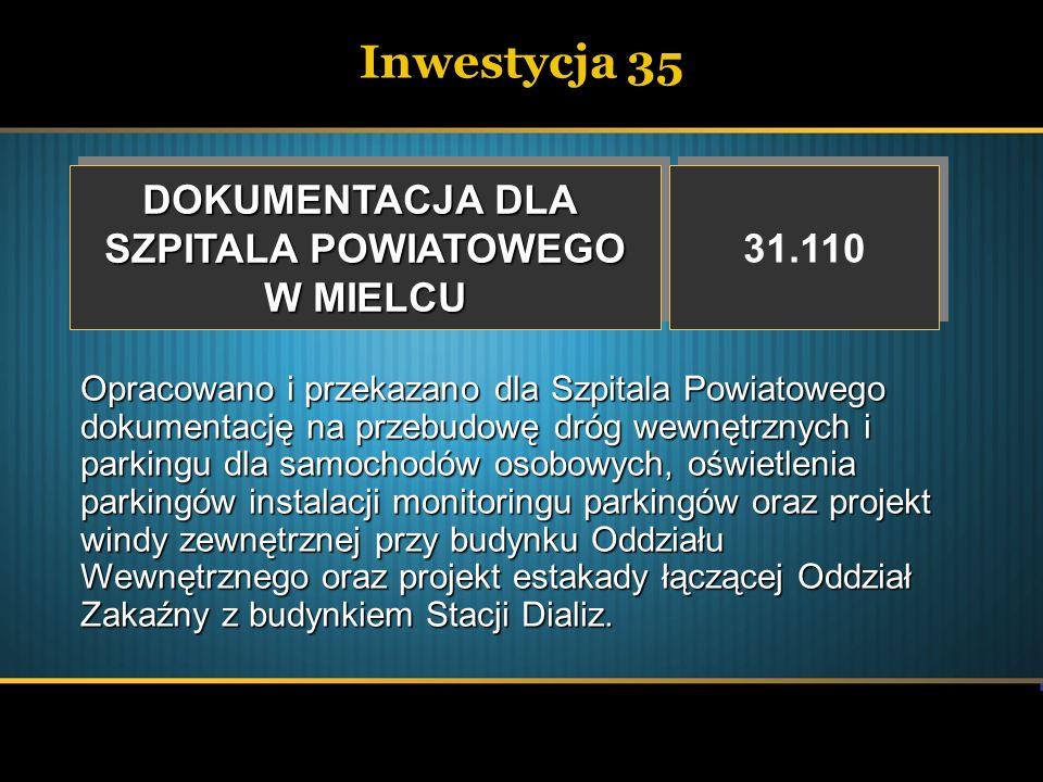 Inwestycja 35 DOKUMENTACJA DLA SZPITALA POWIATOWEGO W MIELCU DOKUMENTACJA DLA SZPITALA POWIATOWEGO W MIELCU 31.110 Opracowano i przekazano dla Szpital