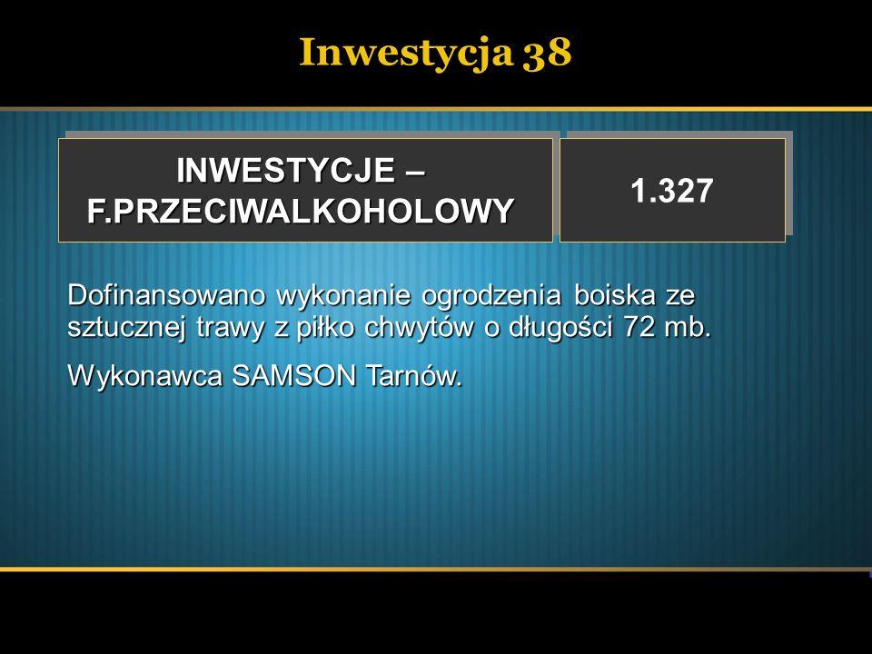 Inwestycja 38 INWESTYCJE – F.PRZECIWALKOHOLOWY F.PRZECIWALKOHOLOWY 1.327 Dofinansowano wykonanie ogrodzenia boiska ze sztucznej trawy z piłko chwytów