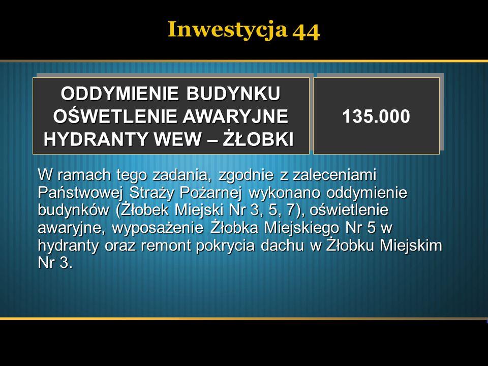Inwestycja 44 ODDYMIENIE BUDYNKU OŚWETLENIE AWARYJNE HYDRANTY WEW – ŻŁOBKI ODDYMIENIE BUDYNKU OŚWETLENIE AWARYJNE HYDRANTY WEW – ŻŁOBKI 135.000 W rama