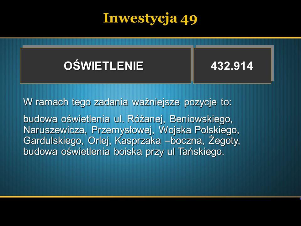 Inwestycja 49OŚWIETLENIEOŚWIETLENIE 432.914 W ramach tego zadania ważniejsze pozycje to: budowa oświetlenia ul. Różanej, Beniowskiego, Naruszewicza, P