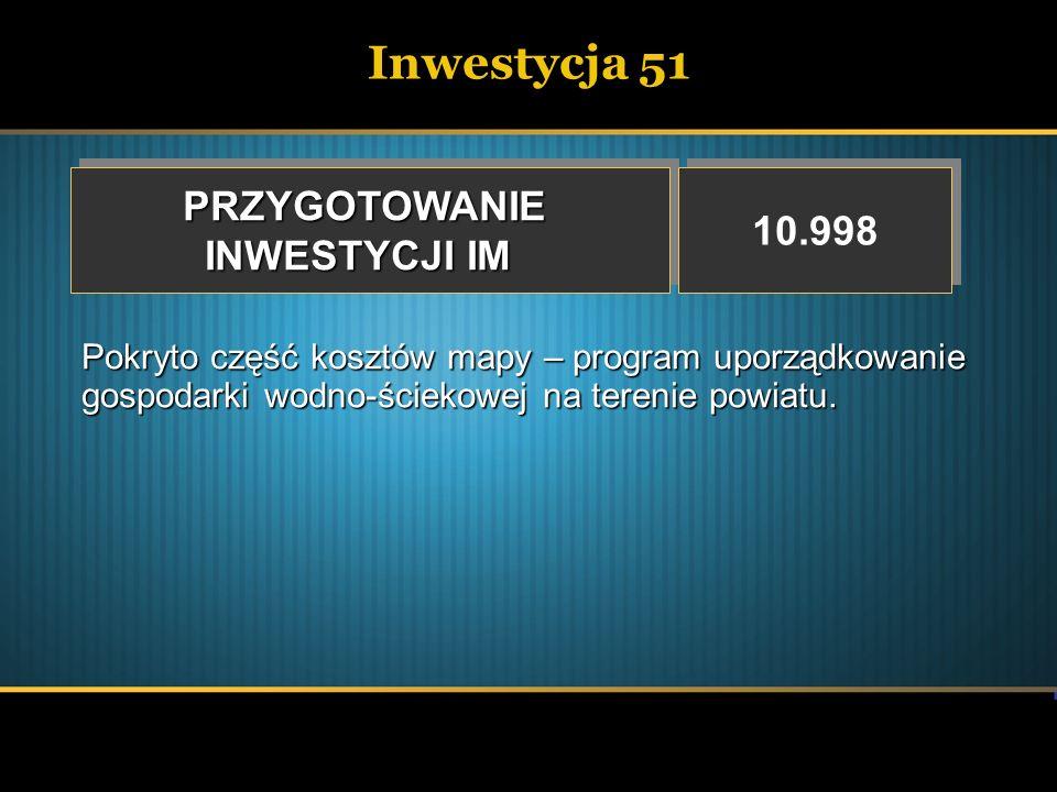 Inwestycja 51PRZYGOTOWANIE INWESTYCJI IM PRZYGOTOWANIE 10.998 Pokryto część kosztów mapy – program uporządkowanie gospodarki wodno-ściekowej na tereni